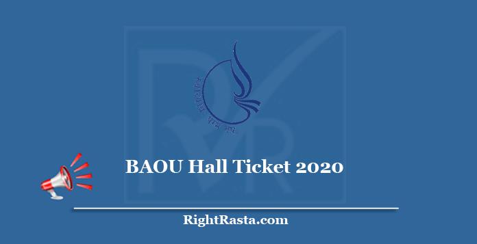 BAOU Hall Ticket 2020