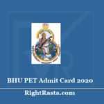 BHU PET Admit Card 2020 (Out)- Download Postgraduate Entrance Test Hall Ticket