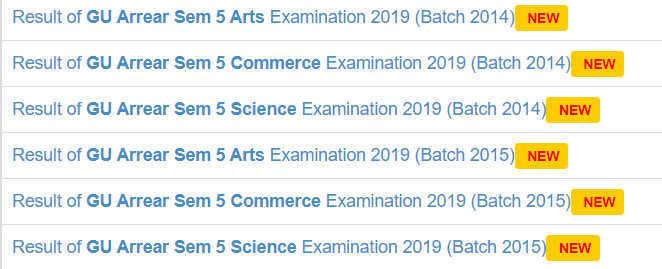 GU Semester 5 Result 2020