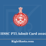 HSSC PTI Admit Card 2020 (Out) - Haryana SSC Physical Training Instructor Hall Ticket