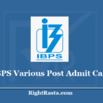 IBPS Various Post Admit Card 2020 (Out) - Download Exam Hall Ticket