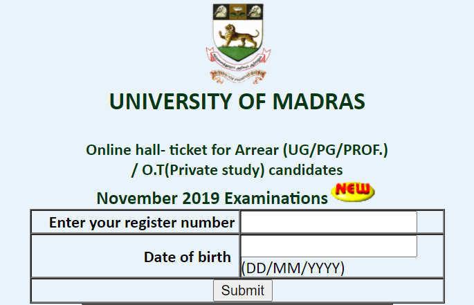Madras University Arrear Hall Ticket 2020