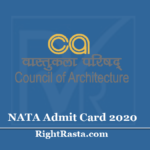 NATA Admit Card 2020 (Out) Download National Aptitude Test in Architecture Hall Ticket