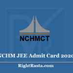 NCHM JEE Admit Card 2020 (Out) - NTA Hotel Management Joint Exam Hall Ticket