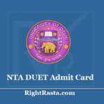 NTA DUET Admit Card 2020 (Out) Download DU UG Entrance Exam Hall Ticket