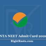 NTA NEET Admit Card 2020 (Out) Download National Testing Agency Exam Hall Ticket