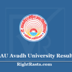 RMLAU Avadh University Result 2020 (Out) Download Exam Results @ www.rmlau.ac.in