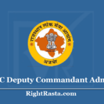 RPSC Deputy Commandant Admit Card 2020 (Out) Download DC Exam Hall Ticket