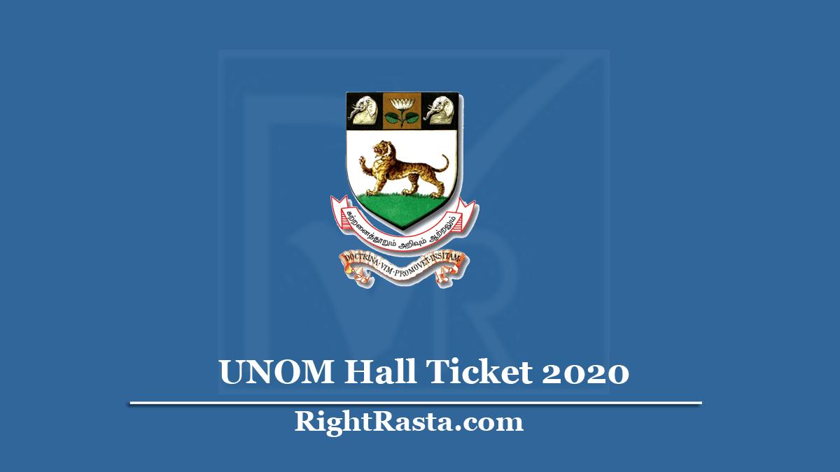 UNOM Hall Ticket
