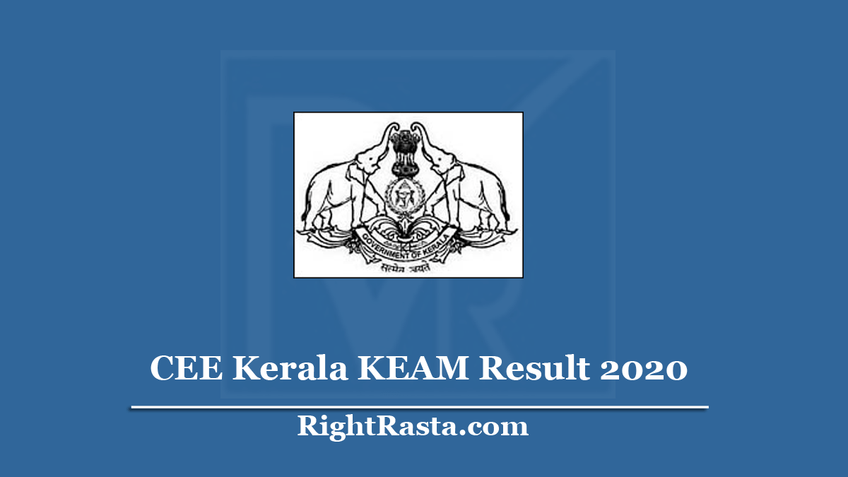 CEE Kerala KEAM Result 2020