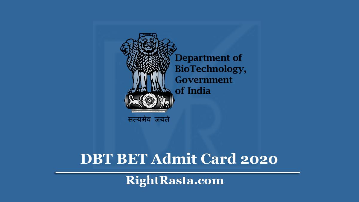 DBT BET Admit Card
