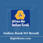 Indian Bank SO Result 2020 (Out) - Download Specialist Officer Exam Merit List
