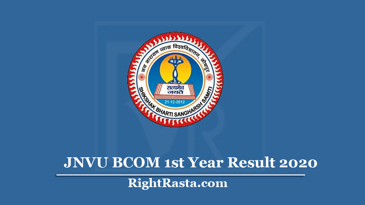 JNVU BCOM 1st Year Result 2020