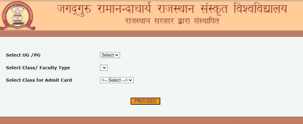 JRRSU Shastriand Acharya Admit Cards