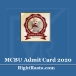 MCBU Admit Card 2020 (Out)- BA BSC BCOM MA MSC MCOM Hall Ticket