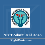 NISER NEST Admit Card 2020 (Out) - Download Entrance Exam Hall Ticket