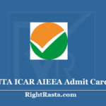 NTA ICAR AIEEA Admit Card 2020 (Out) - Download Entrance Exam Hall Ticket