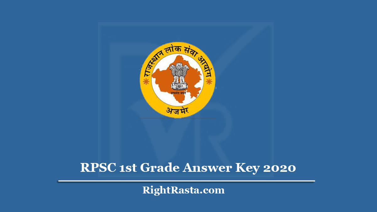 RPSC 1st Grade Answer Key