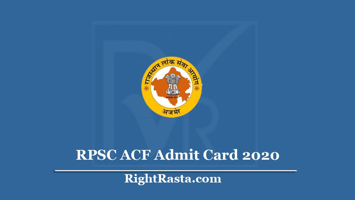 RPSC ACF Admit Card