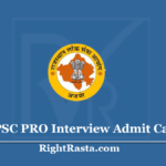 RPSC PRO Interview Admit Card 2020 (Out) - Public Relation Officer Call Letter