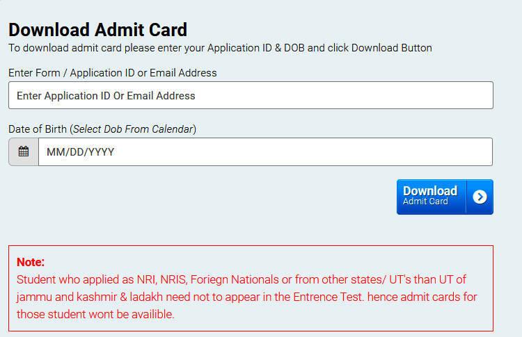 SKUAST Kashmir Admit Card