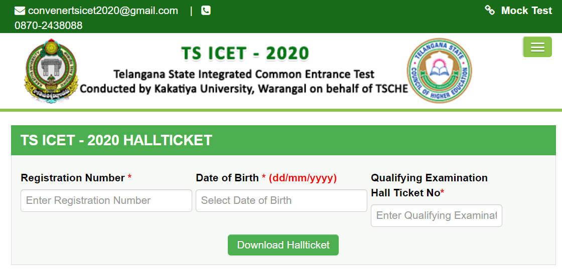 Telangana ICET Admit Card 2020