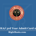 UNIRAJ 3rd Year Admit Card 2020 (Out) - Rajasthan University BA BSC BCOM Part 3 Hall Ticket