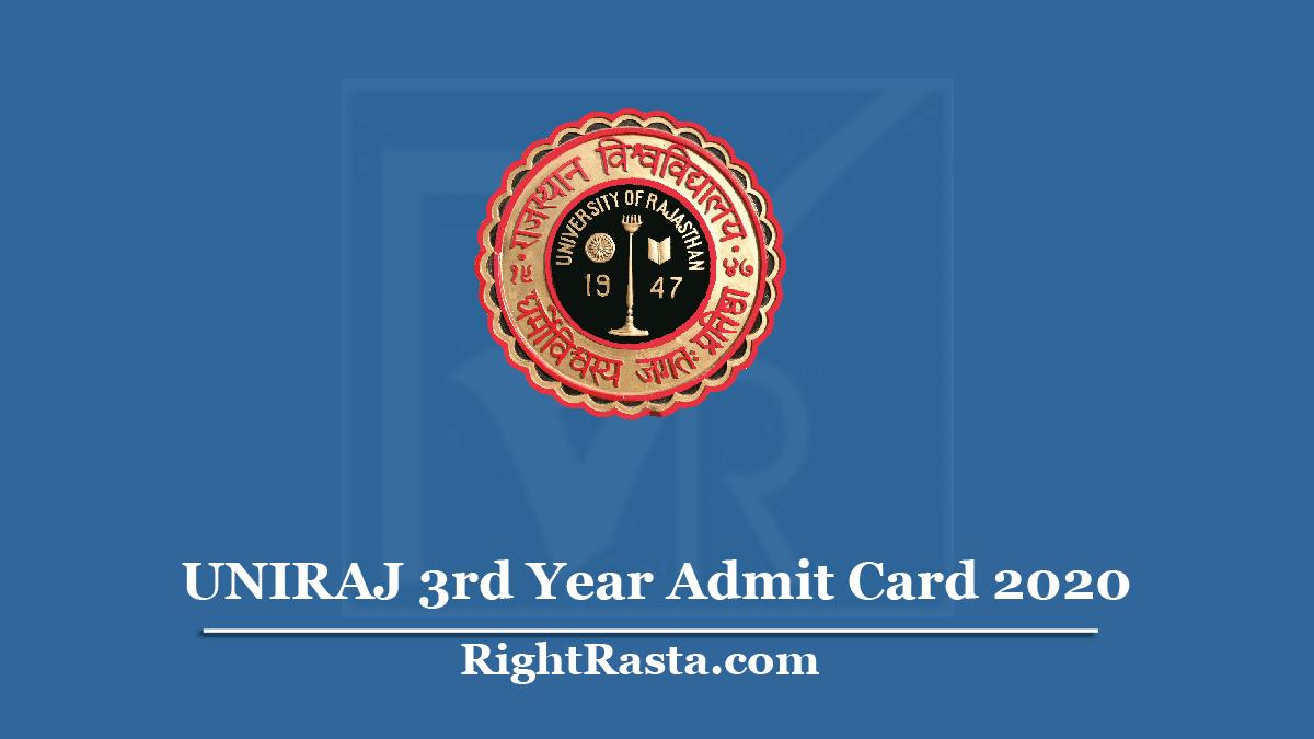 UNIRAJ 3rd Year Admit Card