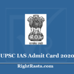 UPSC IAS Admit Card 2020 (Out) Civil Services CSP Preliminary Exam Hall Ticket