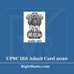 UPSC IES Admit Card 2020 (Out) - Download Indian Economic Service Exam Hall Ticket