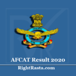 AFCAT Result 2020 (Out) | Download Indian Air Force 02/2020 Results