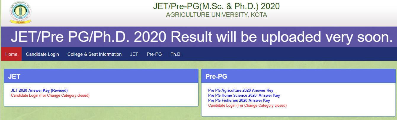 AU Kota Agriculture Result 2020