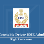 CISF Constable Driver DME Admit Card 2020 (Out) | Download Medical Hall Ticket