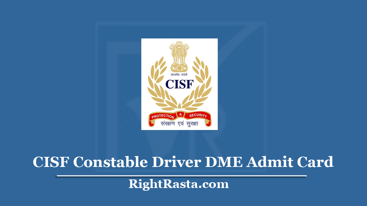 CISF Constable Driver DME Admit Card
