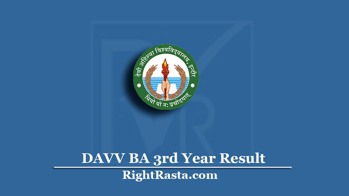 DAVV BA 3rd Year Result