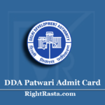 DDA Patwari Admit Card 2020 (Out) | Download Delhi Development Authority Hall Ticket