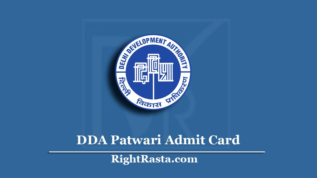 DDA Patwari Admit Card