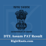 DTE Assam PAT Result 2020 (Out) | Assam Polytechnic Admission Test Results