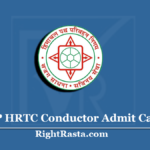HP HRTC Conductor Admit Card 2020 (Out) | HPSSSB Conductor Hall Ticket