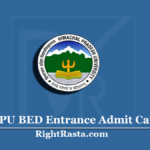 HPU BED Entrance Admit Card 2020 (Out) | Download HP B.Ed Hall Ticket