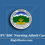 HPU BSC Nursing Admit Card 2020 (Out) Download B.Sc Entrance Exam Date