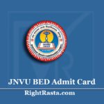 JNVU BED Admit Card 2020 (Out) | Download B.Ed 1st 2nd Year Hall Ticket