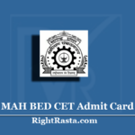 MAH BED CET Admit Card 2020 (Out) | Download Maharashtra B.Ed CET Hall Ticket