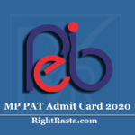 MP PAT Admit Card 2020 (Out) | Download MPPEB Pre Agriculture Test Hall Ticket