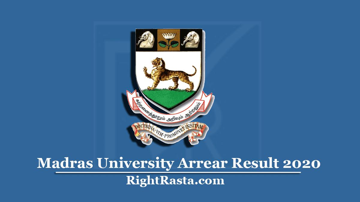 Madras University Arrear Result
