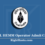 NCL HEMM Operator Admit Card 2020 (Out) | Northern Coalfields Hall Ticket