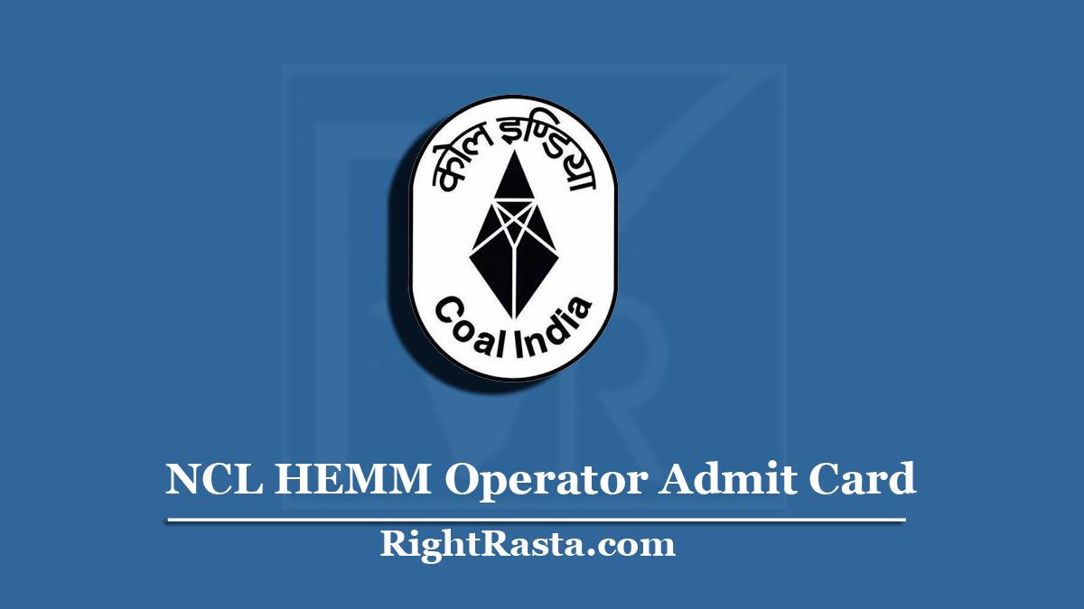 NCL HEMM Operator Admit Card