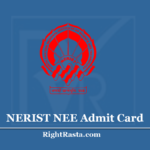 NERIST NEE Admit Card 2020 (Out) Download Hall Ticket @ www.neeonline.ac.in