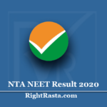 NTA NEET Result 2020 (Out) - National Eligibility cum Entrance Test Results