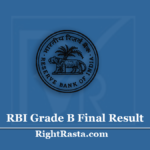 RBI Grade B Final Result 2020 (Out) | Download Reserve Bank of India Final Merit List